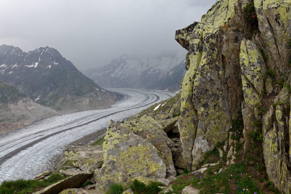 Glacier d'Aletsch dans le brouillard