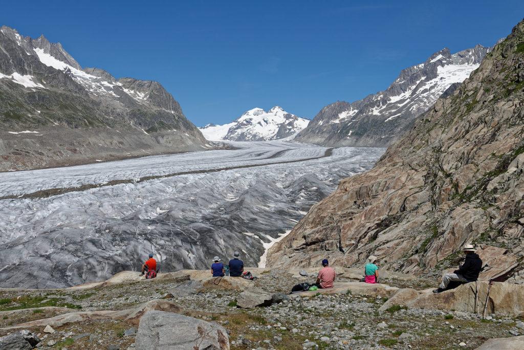 Pique-nique au raz du glacier d'Aletsch