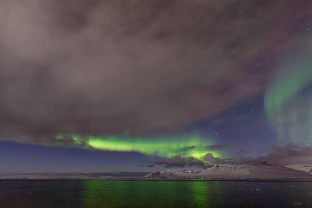 Aurores boréales en Islande l'hiver
