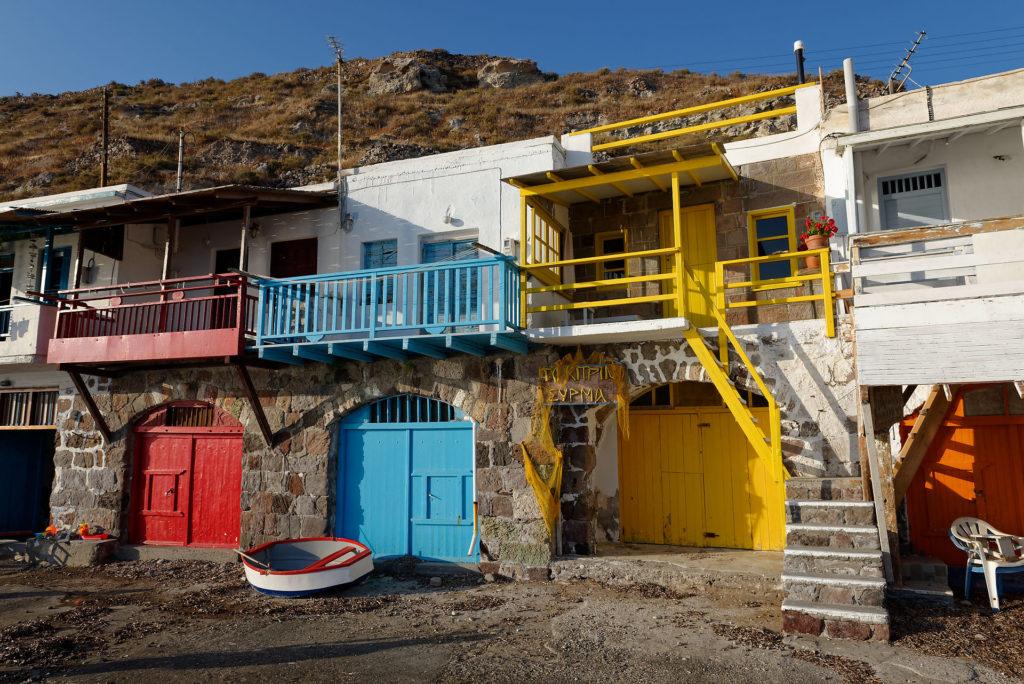 Maisons colorées à Milos